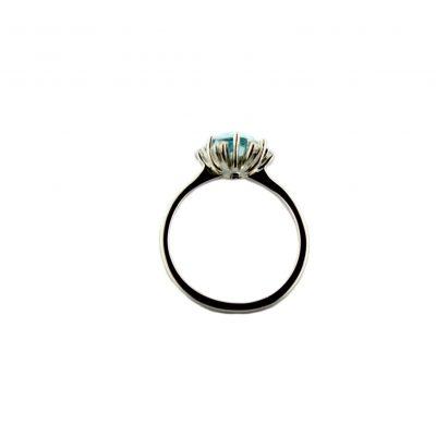 Anello oro bianco 18kt con topazio azzurro e zirconi