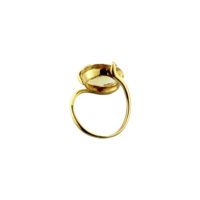 Anello oro giallo 18Kt con citrino tondo