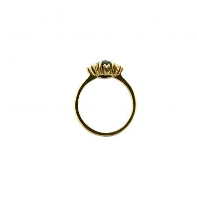 Anello oro giallo 18Kt con onice ovale e zirconi
