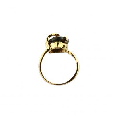 Anello oro giallo 18kt con quarzo fumè a goccia