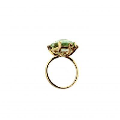 Anello oro giallo 18kt con ametista verde e zirconi