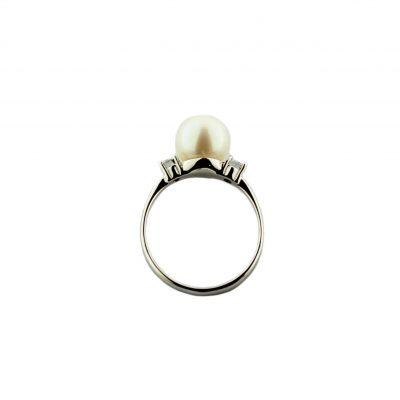 Anello oro bianco 18 Kt con perle Fresh Water e zirconi