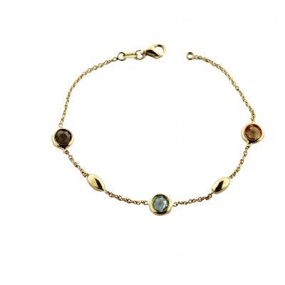 Bracciale oro giallo 18kt  con pietre multicolore