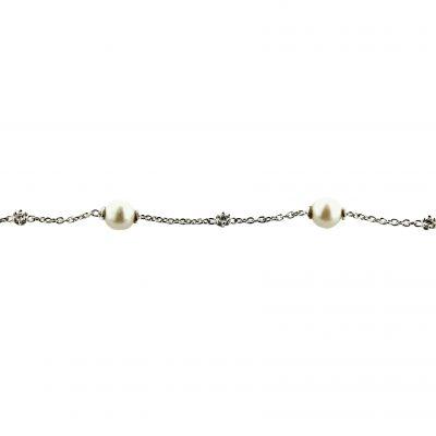 Bracciale oro bianco 18kt con perle Fresh Water e zirconi