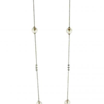 Collana oro bianco 18Kt con perle Fresh Water e zirconi