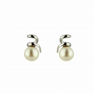 Orecchini oro bianco 18kt con perle Fresh Water a spirale