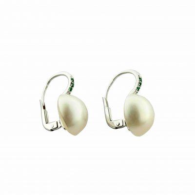 Orecchini oro bianco 18Kt con perle Mabè e zaffiri blu