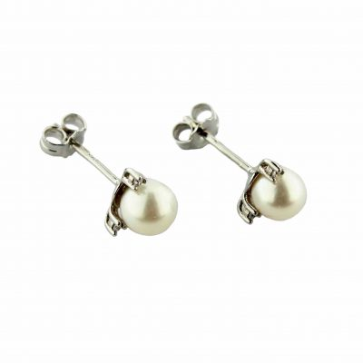 Orecchini oro bianco 18Kt con perle Fresh Water e zirconi