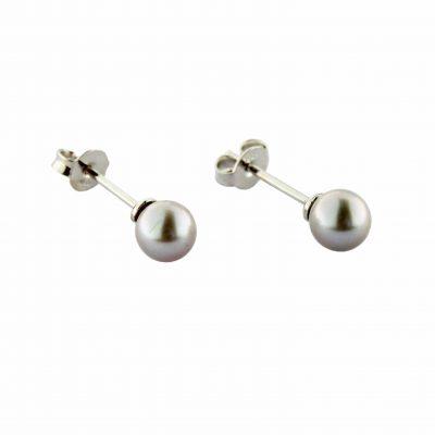 Orecchini oro bianco 18Kt con perle Fresh Water grigio chiaro