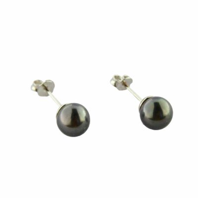 Orecchini oro bianco 18Kt con perle Fresh Water grigio scuro