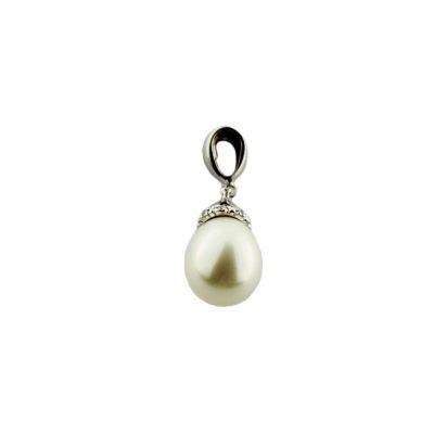 Pendente oro bianco 18 Kt con perla Fresh Water a goccia