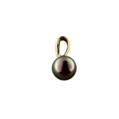 Pendente oro giallo 18Kt con perla Fresh Water nera