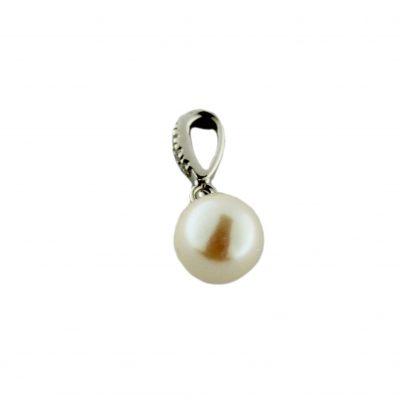 Pendente oro bianco 18Kt con perla Akoya