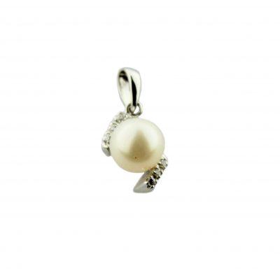 Pendente oro bianco 14Kt con perla Fresh Water