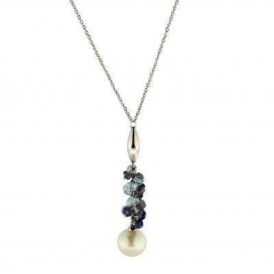 Girocollo oro bianco 18Kt con topazio, iolite e perla Fresh Water