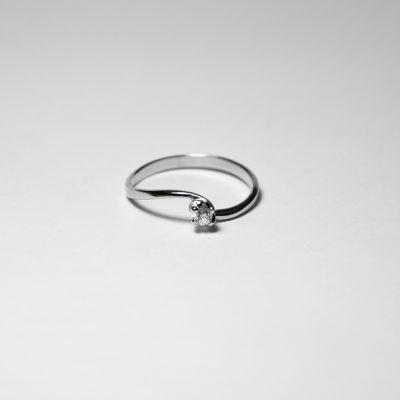 Anello oro bianco 18Kt con diamanti ghsi Ct 0,07