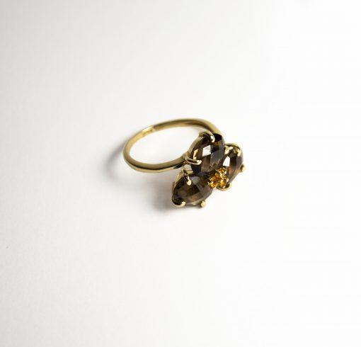 Anello oro giallo 18Kt con quarzi fumé e citrini