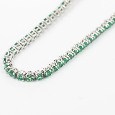 Bracciale tennis oro bianco 18kt con smeraldi
