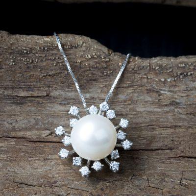 Girocollo veneziana oro bianco 18kt con perla freshwater e zirconi